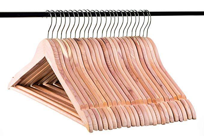 Neaties American Cedar Wood Wide Large Coat Hangers with Flat Bar 8pk