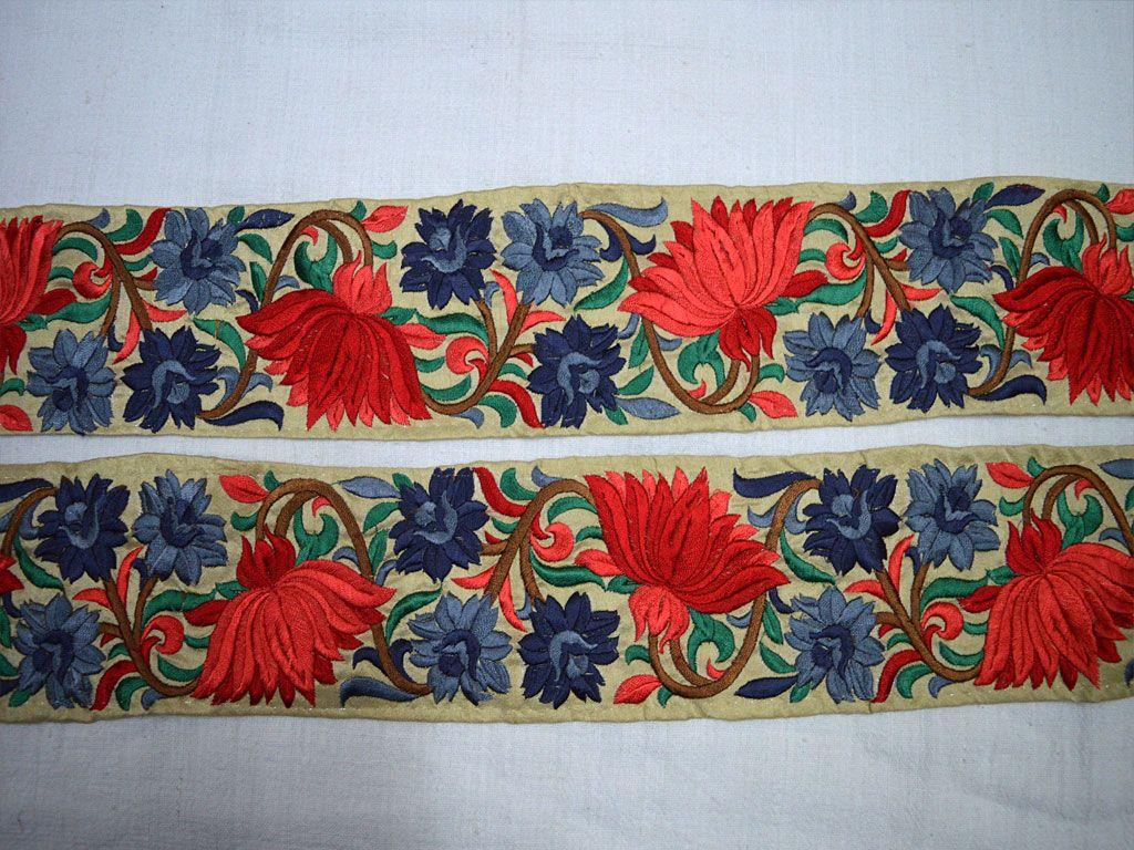 Red Grey Decorative Indian Sari Border Trim Computer Embroidery Indian Sari Red And Grey