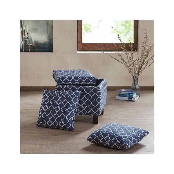 Exceptional Madison Park Shelley Square Storage Ottoman With Pillows ($117) ❤ Liked On  Polyvore Featuring