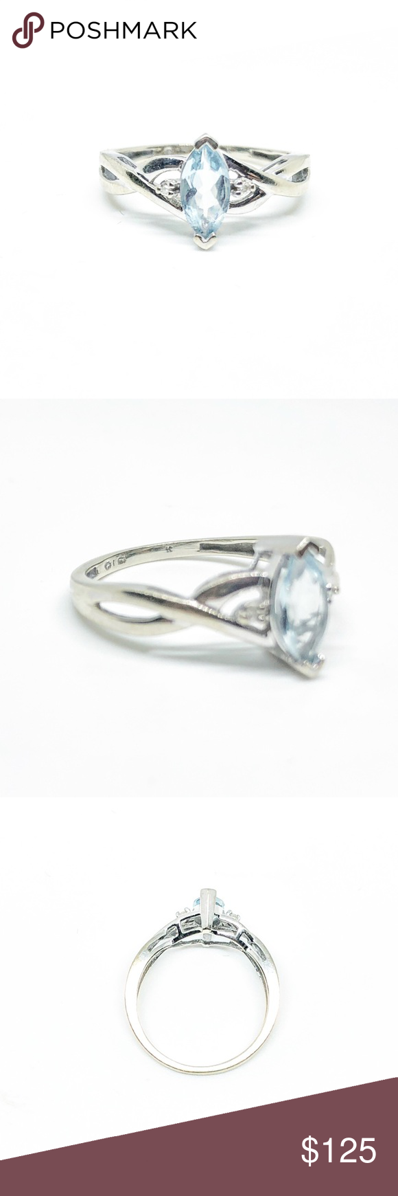 Sold 10k White Gold Aquamarine Diamond Ring White Gold Diamond Diamond Ring