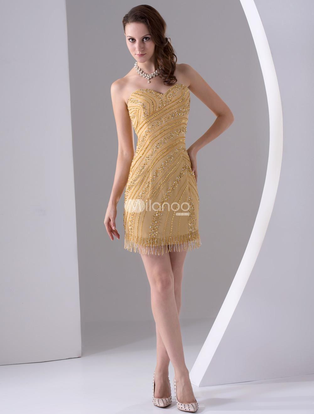 Gold sheath sweetheart mini length sequin satin cocktail dress