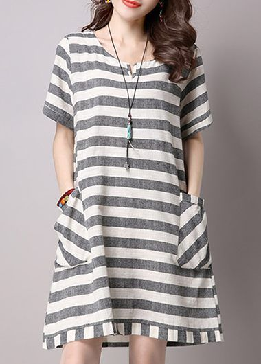 453776374f Pocket Embellished Short Sleeve Stripe Print Tunic Dress
