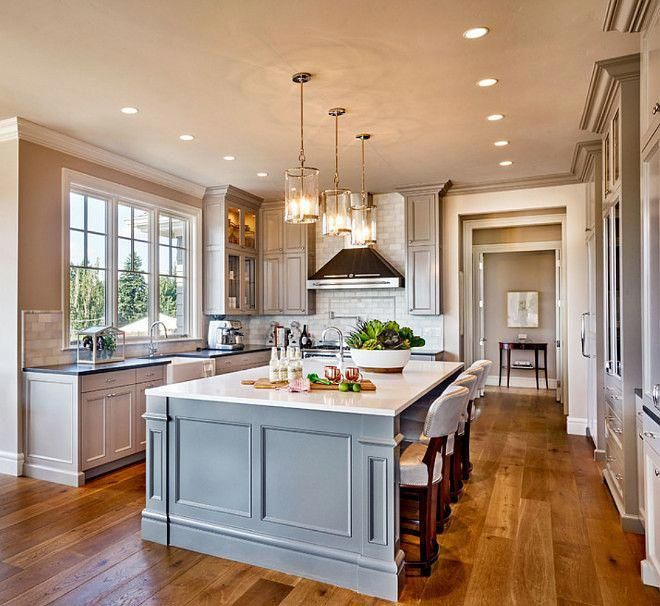 """Traditional Style Kitchen Design With A Modern Twist: Kitchen Island Paint Color Is """"Kendall Charcoal Benjamin"""