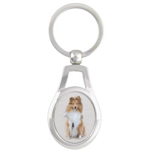 Shetland Sheepdog, sheltie cute dog photo portrait Silver-Colored Oval Metal Keychain