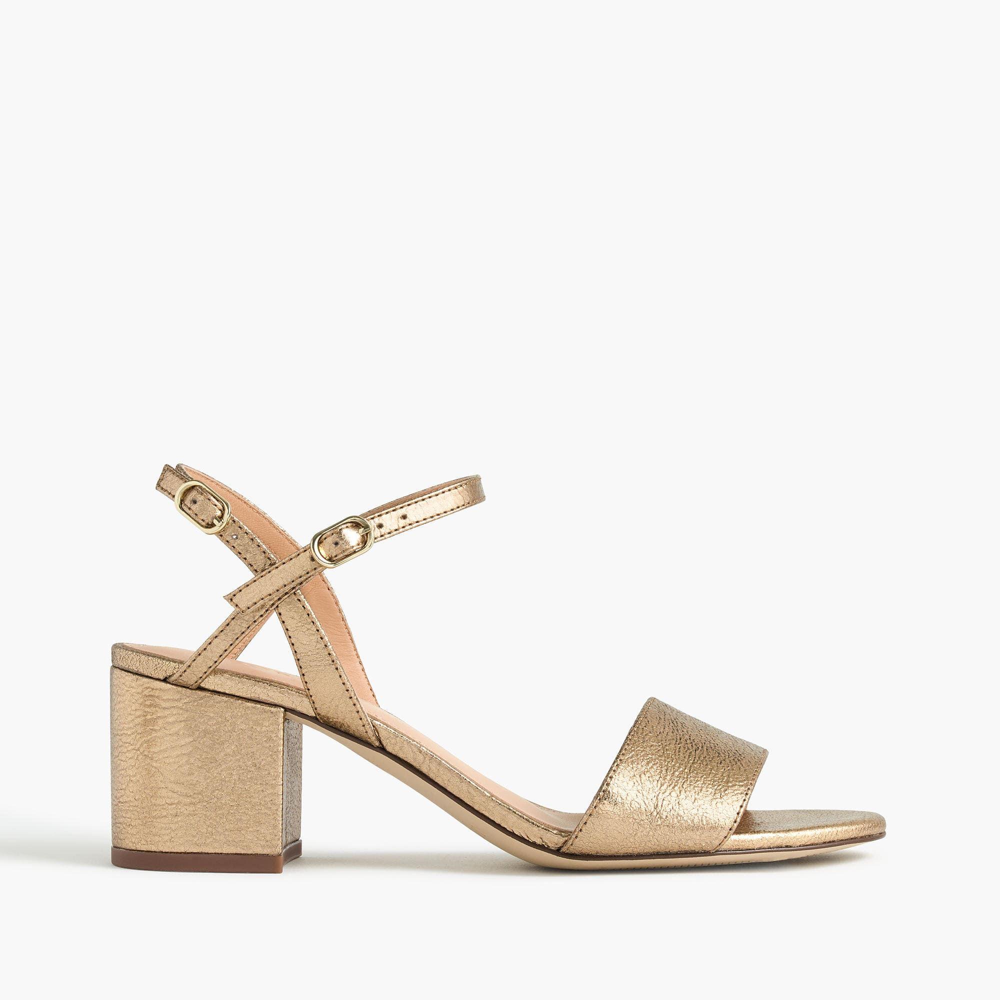 b4686ef23e7 J.Crew - Strappy block-heel sandals in metallic gold | 2018 in 2019 ...
