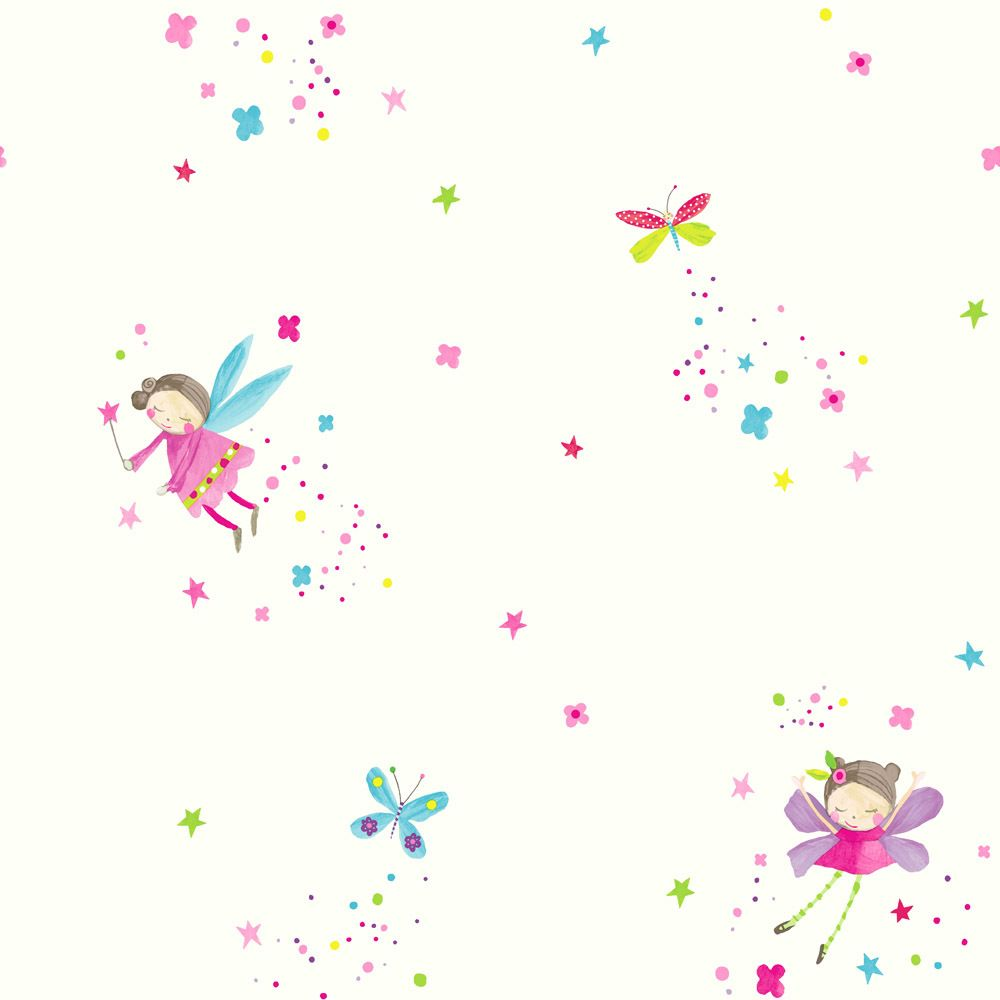 Imagine Fun Kids Colourful Pink Blue Fairy Girls Childrens Bedroom ~silver  Glitter Fairies Wallpaper For