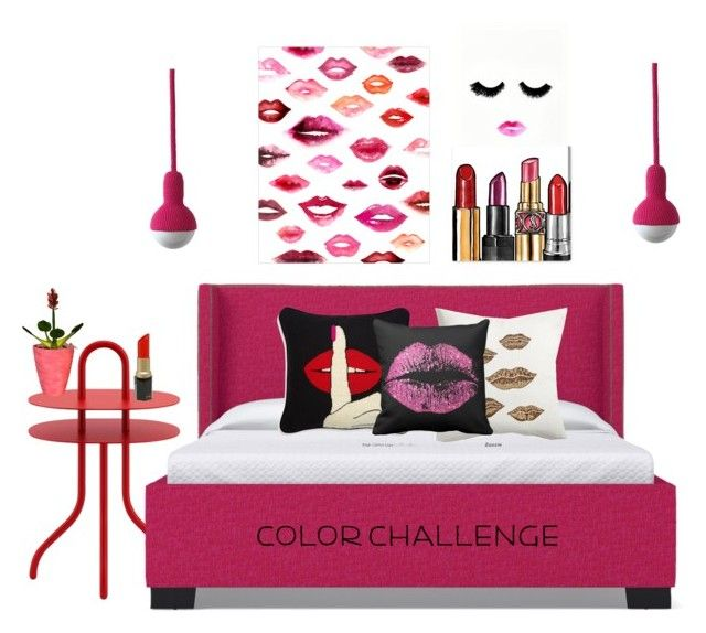 """""""red and pink"""" by shannonsmilez ❤ liked on Polyvore featuring interior, interiors, interior design, home, home decor, interior decorating, Cappellini, WALL, Jonathan Adler and Oliver Gal Artist Co."""
