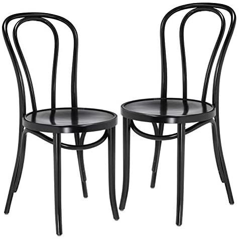 1018 Hairpin Bentwood Chairs, Modern Dining Room, Coffee Shop, Cafe, Kitchen Bistro, or Vanity Seating, Natural Handcrafted Wood Frame, Rustic Indoor Furniture   Black, Set of 2
