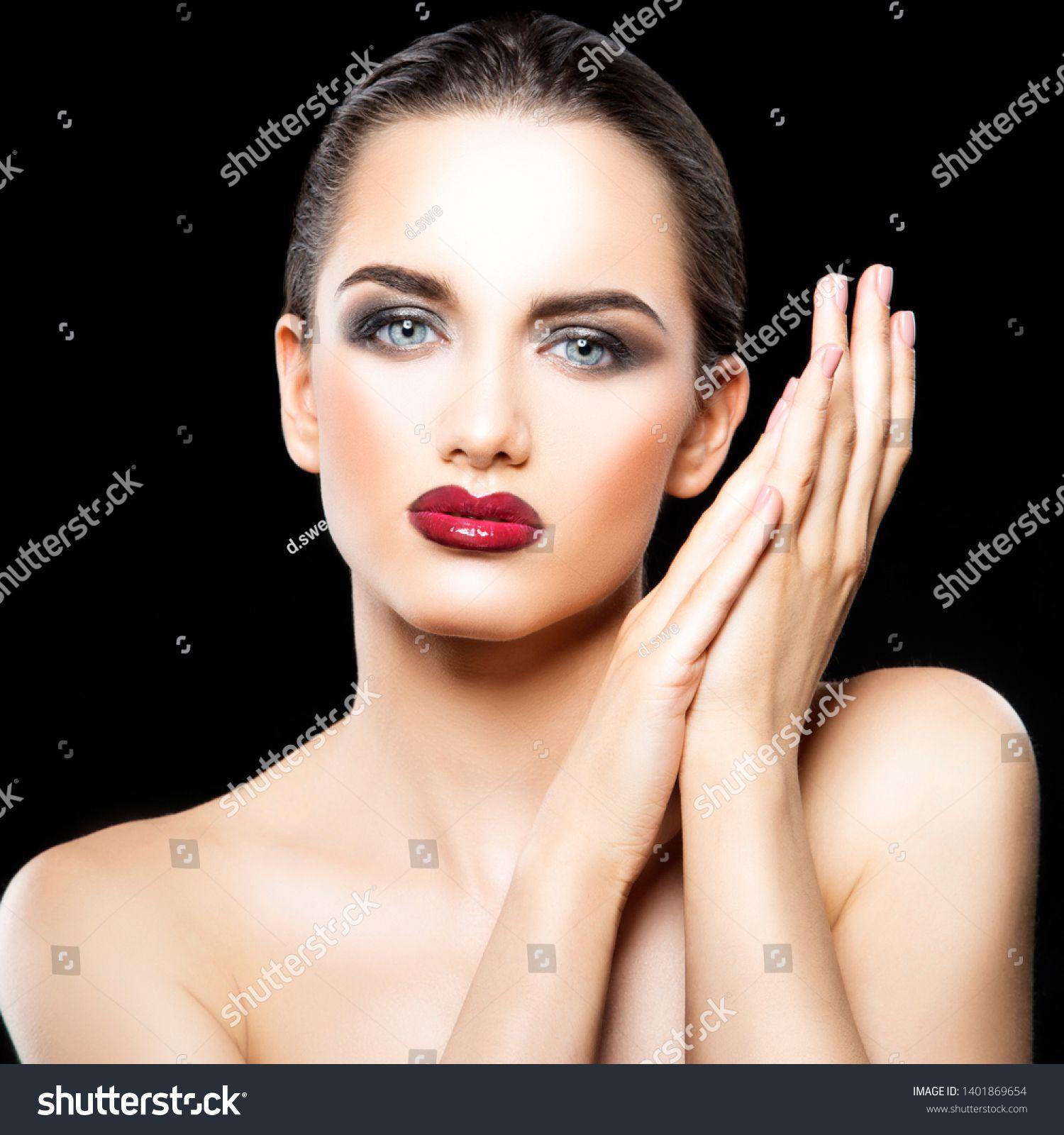 beauty young adult woman studio portrait, glossy