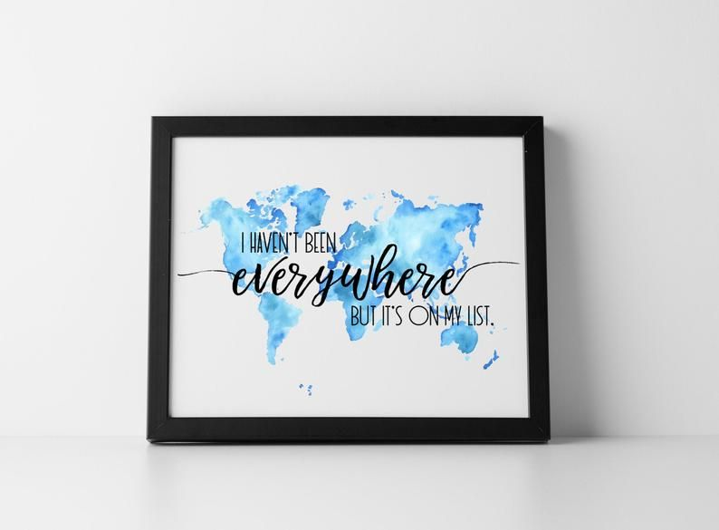Travel Art Print World Map Art Travel Quote Wall Art Travel Etsy Travel Art Print World Map Art Wall Art Quotes