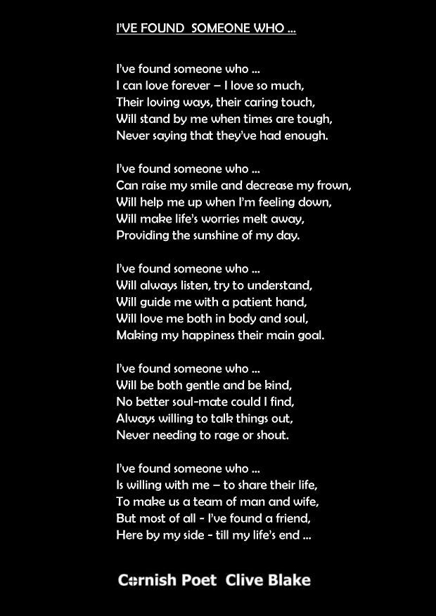 I Ve Found Someone Wedding Poem Poetry By Cliveblake