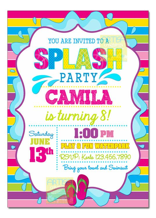 Splash party invitation pool party birthday invitation girl pool splash party invitation pool party birthday by artisacreations stopboris Image collections