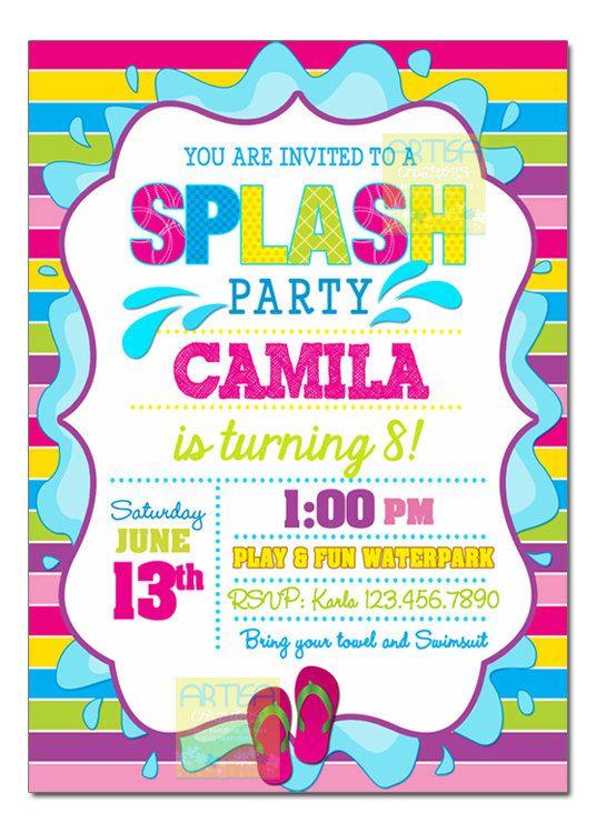 Splash Party Invitation Pool Party Birthday Invitation Girl Pool