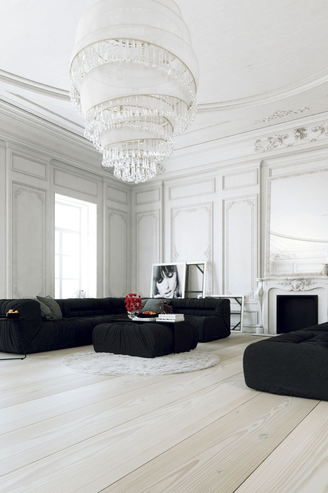 parisian apartment white sitting room with black furniture sofas and ottoman chandelier mouldings and white wood floor