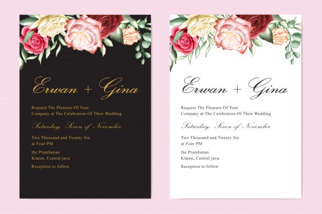 Watercolor Wedding Invitation Template In 2020 Indian Wedding Invitation Cards Wedding Invitation Templates Wedding Invitations