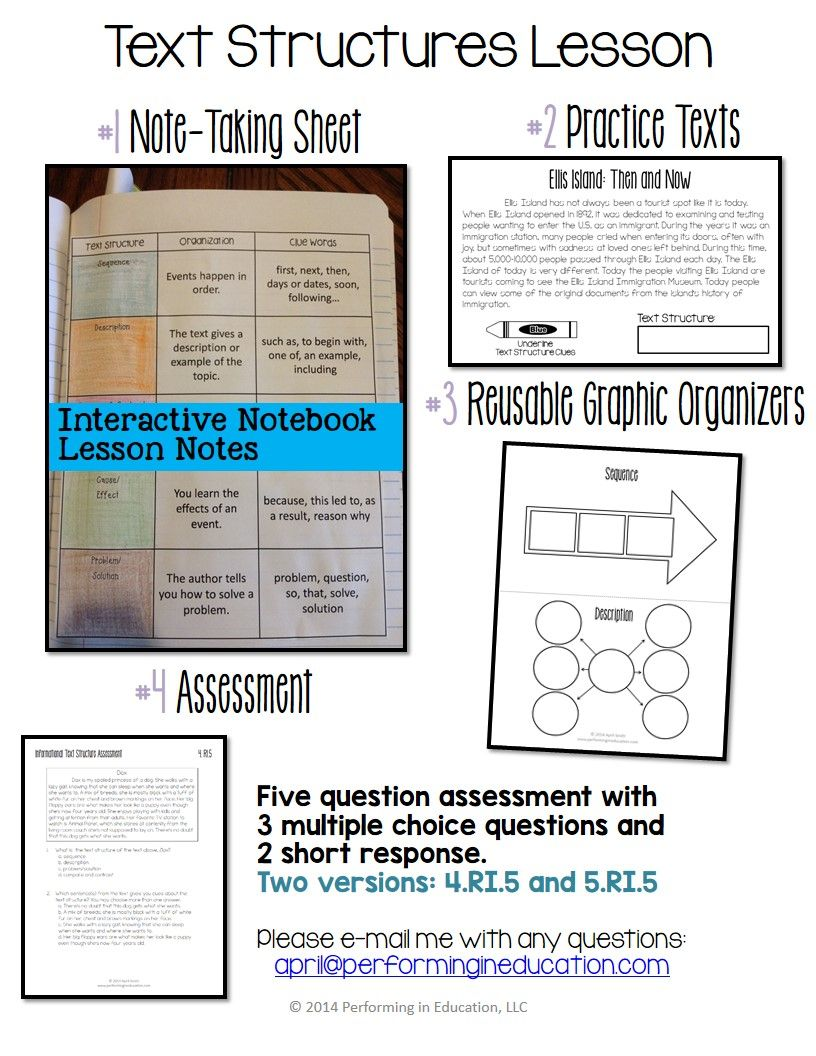 Workbooks text structure practice worksheets : Informational Text Structures: Complete Lesson for Interactive ...