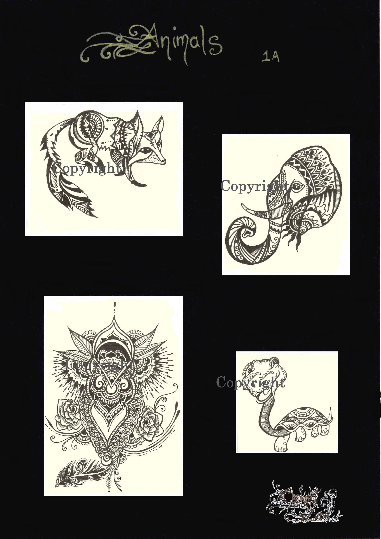 Animals 1a jagua henna stencil animalstattootransfer