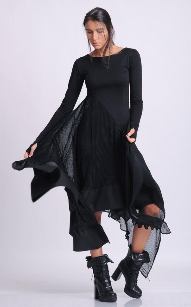 Long Sleeve Asymmetric Dress Thumb Hole Sleeve Dress Casual Etsy Long Sleeve Dresses Fall Casual Dresses Black Chiffon Dress [ 1272 x 794 Pixel ]