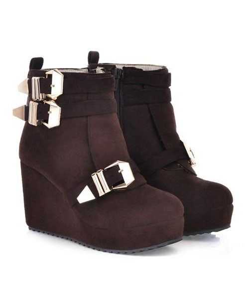 Brown Napped Suede Wedge Boots with Golden Pin Buckle Belt