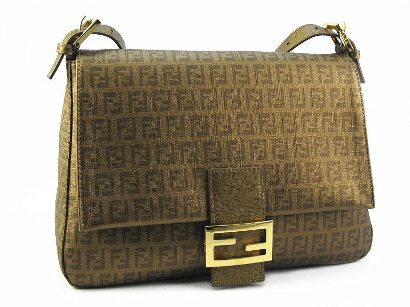 FENDI Mama Gold Color Coated Canvas With Leather  Very Good Condition Ref.no-BVUOE-2