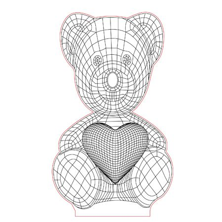 Teddy Bear With Heart 3d Illusion Lamp Plan Vector File For Laser And Cnc 3bee Studio 3d Illusion Lamp 3d Illusions Illusions