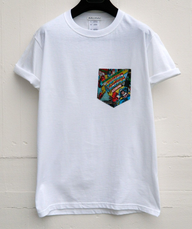 Men 39 s marvel captain america pattern white pocket t shirt for Custom t shirts with pockets