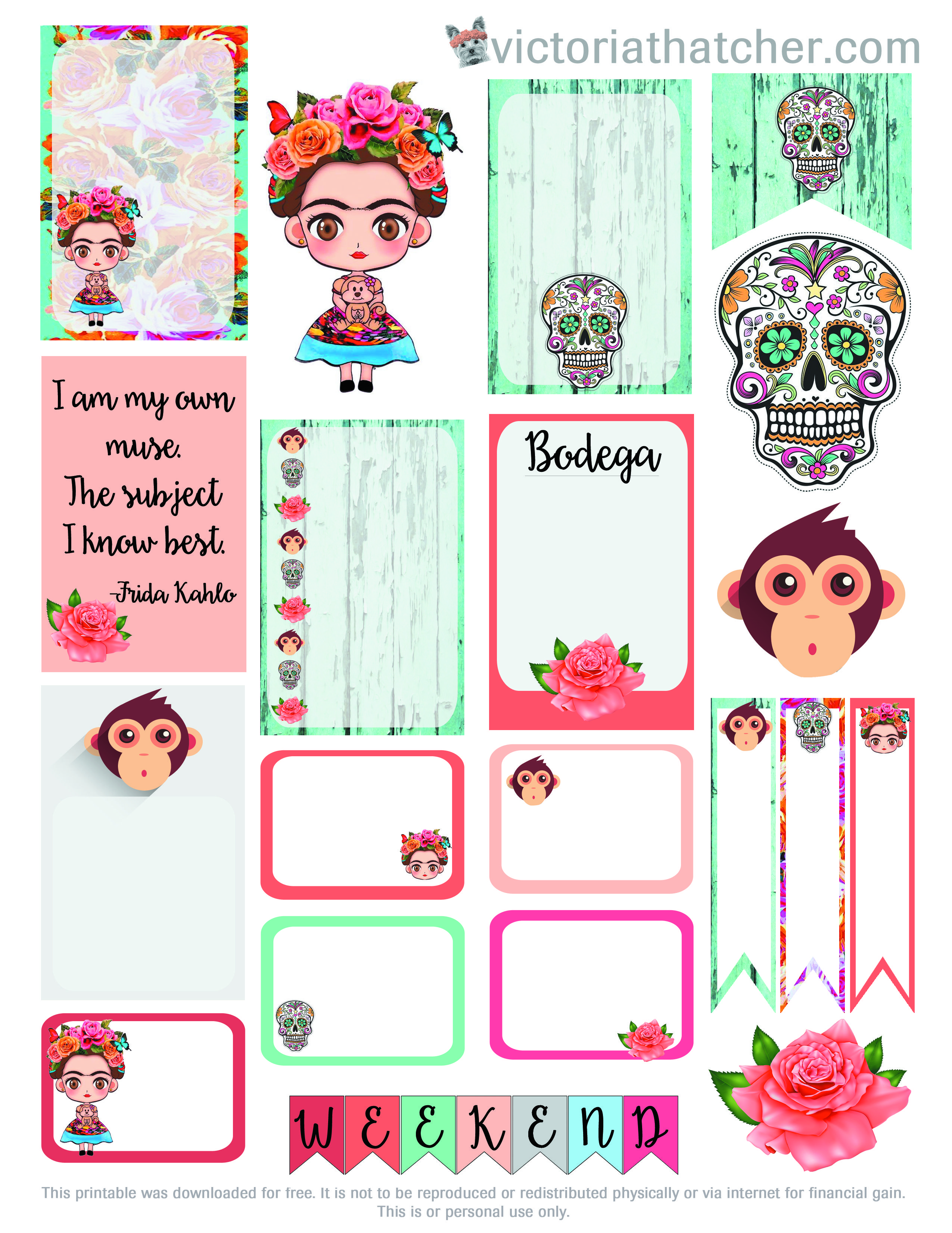 Free frida kahlo planner printable designed for the large for Donde venden stickers para pared