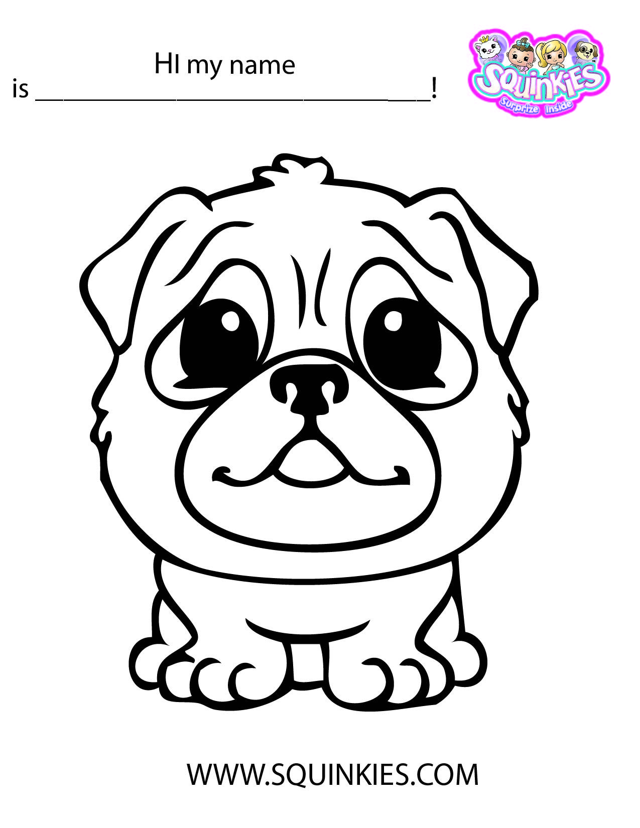Squinkies Coloring Page With Images Cartoon Coloring Pages