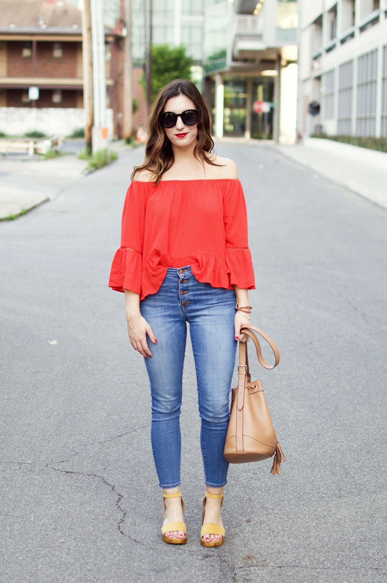 Off the shoulder top and high-waisted denim | See more at nataliewashere.com