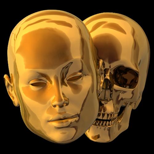 The Golden Heads Bone Art Gold Skull