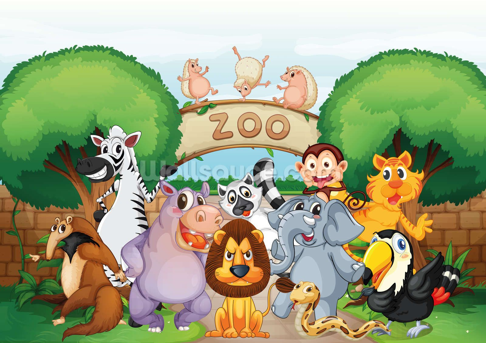 Animal Zoo Wallpaper Mural Wallsauce Us Cartoon Zoo Animals Zoo Animals Cartoon Animals