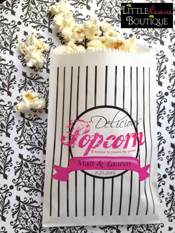 Personalized Popcorn Bags Wedding Bar Favor