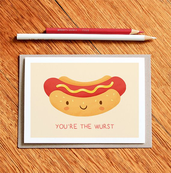 Hot Dog Funny Valentines Day Card Birthday Card By Milkandcookies