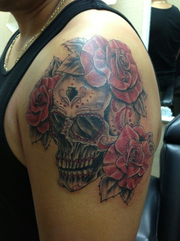 Realistic sugar skull done by aj at wicked ways tattoos and clothing ...