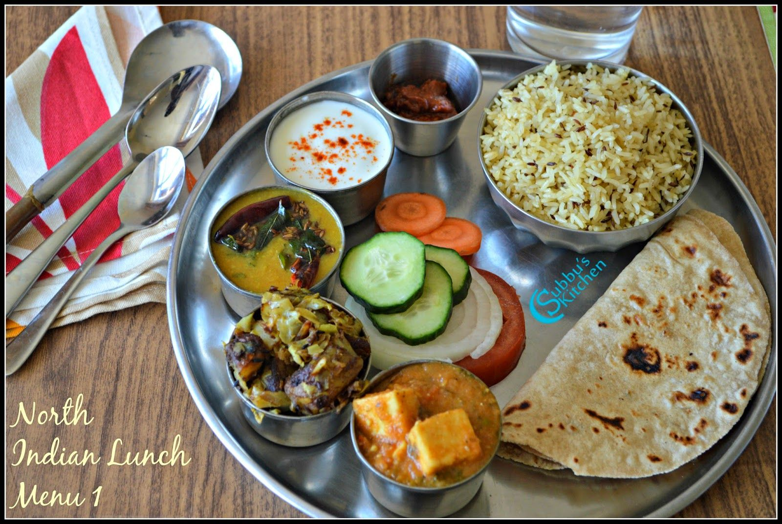 North Indian Lunch Menu 1 Chapati Dal Tadka Mutter Paneer Aloo PattaGobh