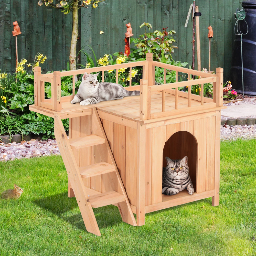 Pawhut 2 Story Elevated Waterproof Cat House Outdoor Indoor Wooden Treehouse Cat Shelter With Balcoy Natural Wood Cat House Aosom Outdoor Cat Tree Outdoor Cat House Outdoor Cat Shelter