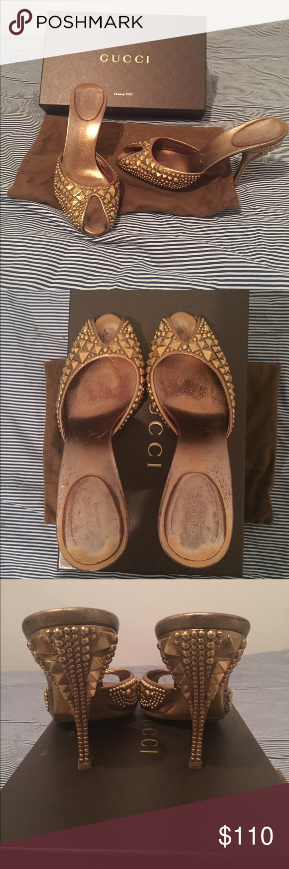 1f11aecdb98 Authentic Gucci gold embellished heels slides 7.5 Gold embellished  rhinestone slides by Gucci. These are