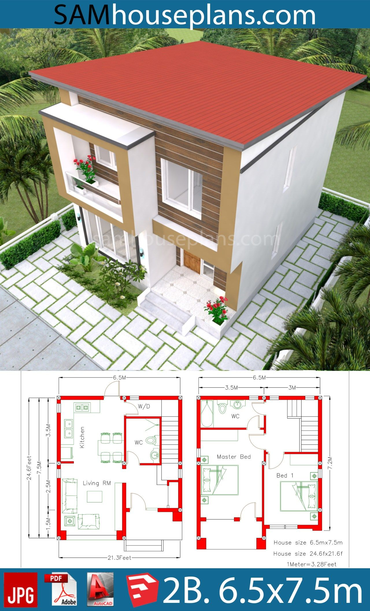 House Plan 6 5x7 5m With 2 Bedrooms A2 Sam House Plans House Plans House Construction Plan House Design Pictures