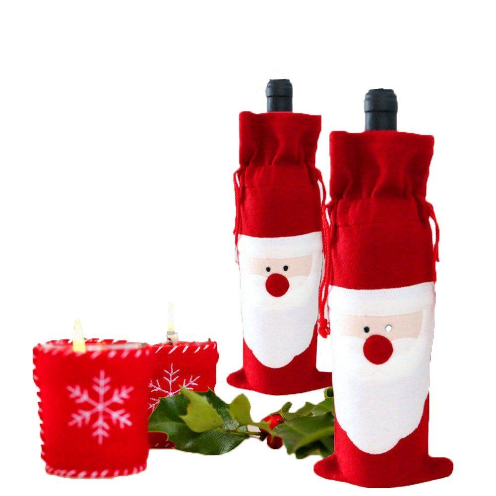 christmas red wine bottle cover bag