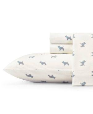 Laura Ashley Core Scottie LtPastel Grey Full Flannel Sheet
