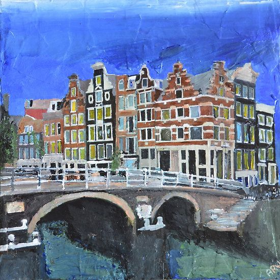 Amsterdam, Canals and Bridge, Art by Andrew Reid Wildman