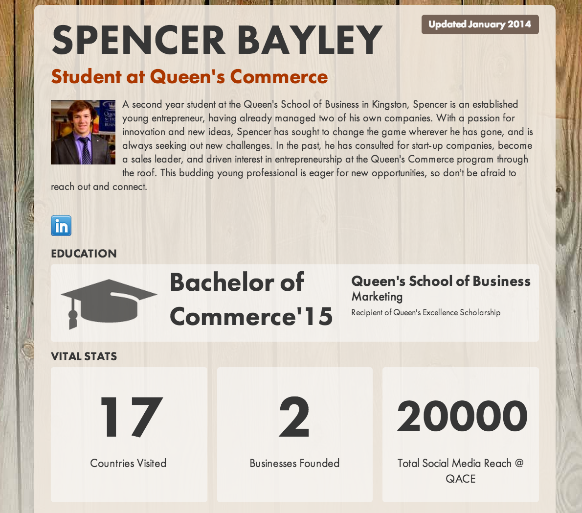 Thumbnail from Spencer's interactive resume. Click for full view.