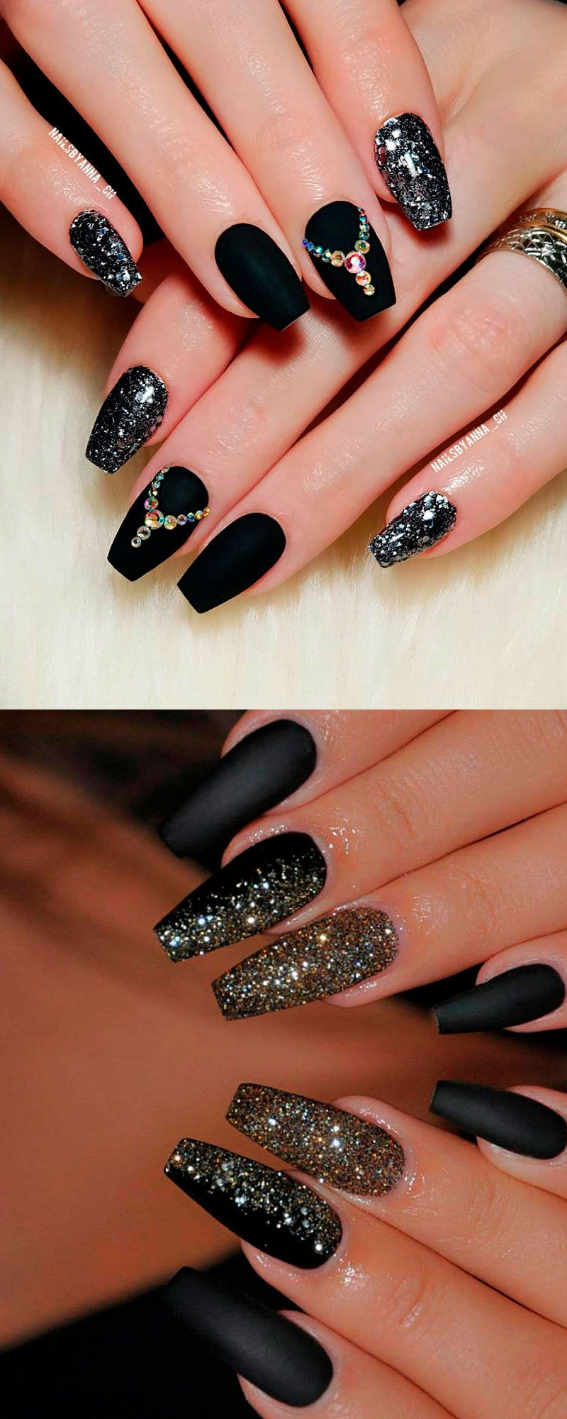 The Most Beautiful Black Winter Nails Ideas Gold Glitter Nails