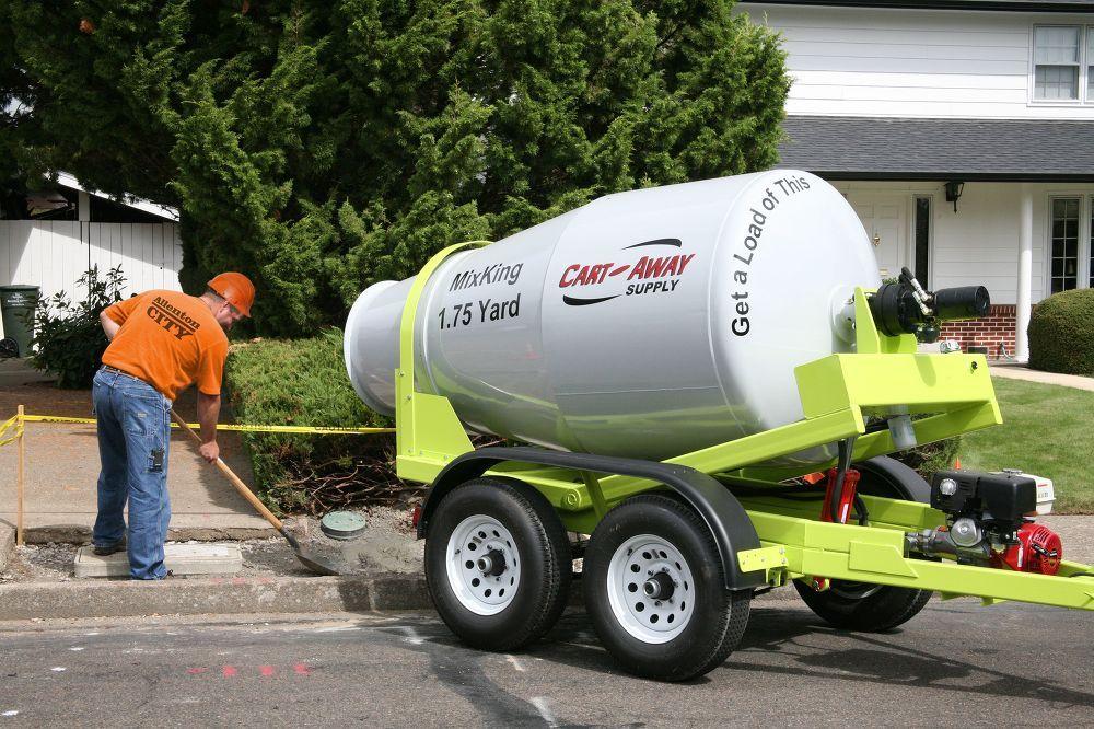 1.75 cubic yard portable concrete mixing trailer