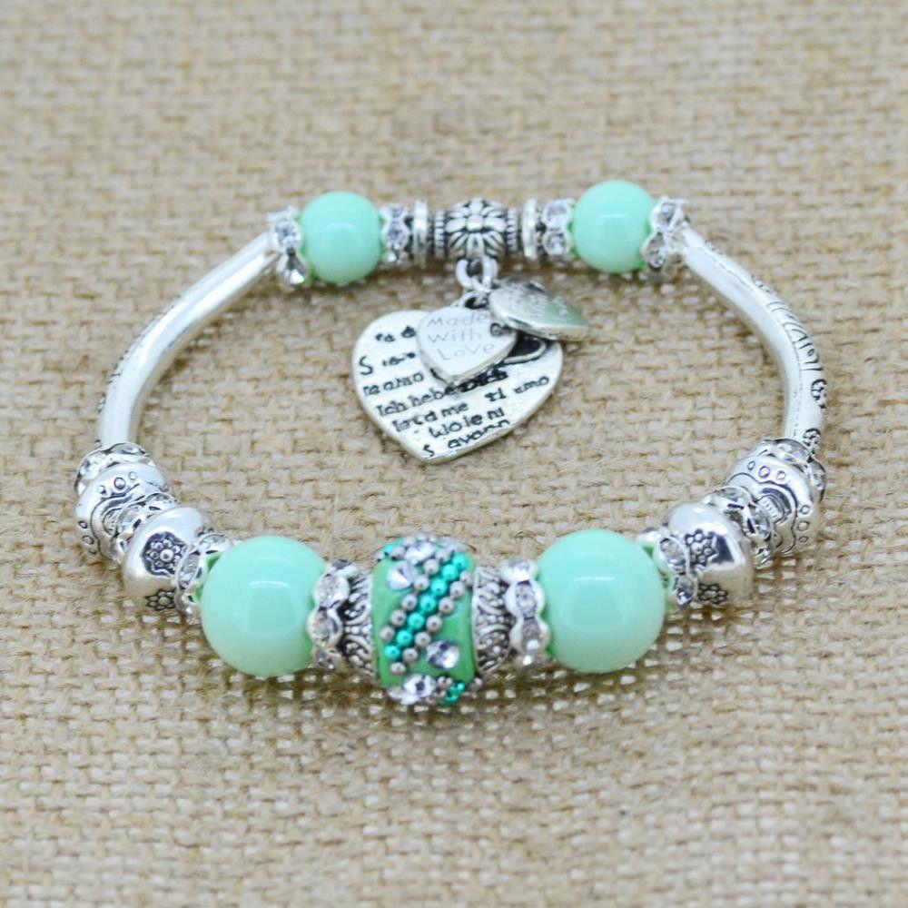 Silver plated jewelry heart charm bracelets bangles glass beads