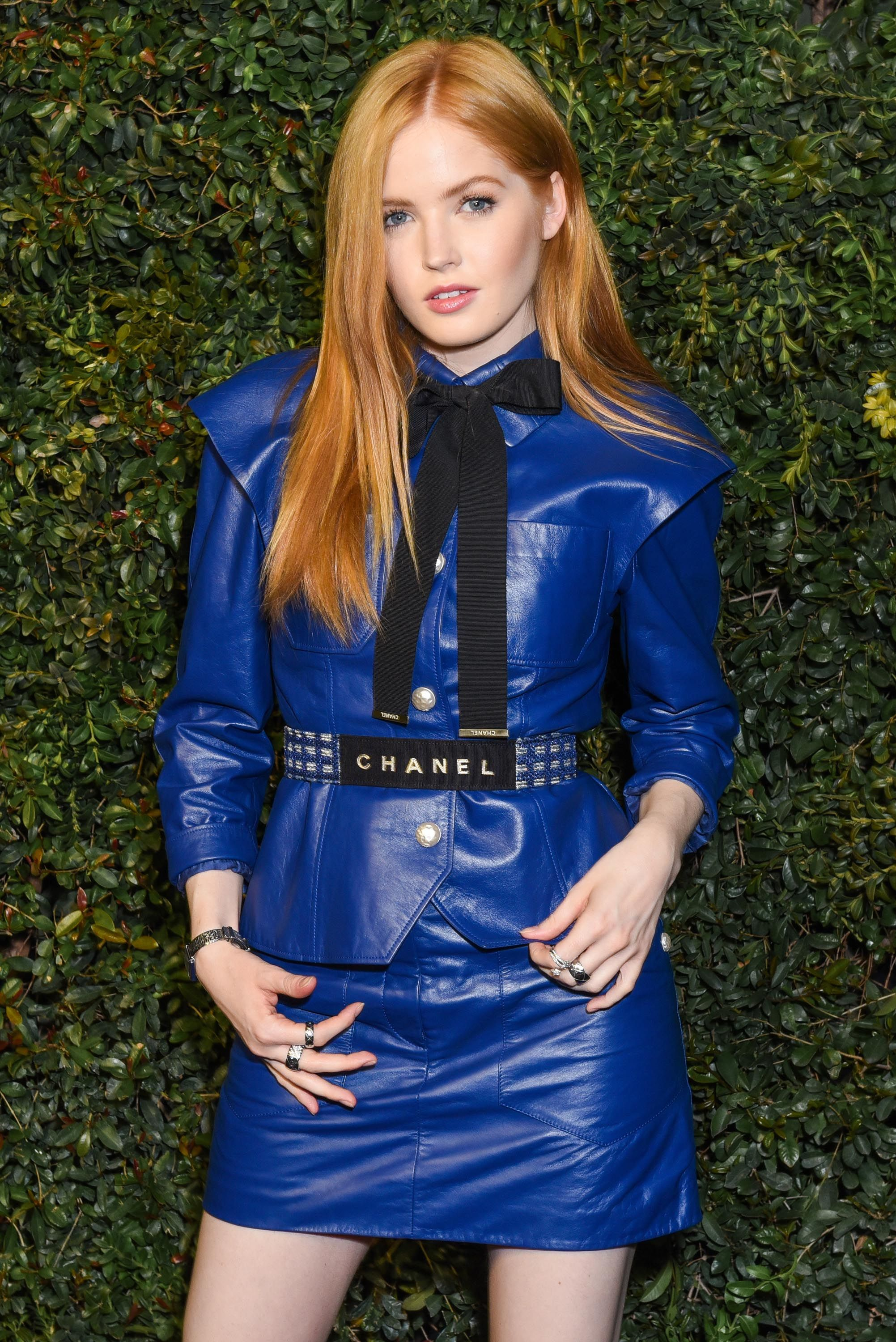 Ellie Bamber Attends The Charles Finch And Chanel Pre Oscar Awards Rodeo Pants In Black Dinner