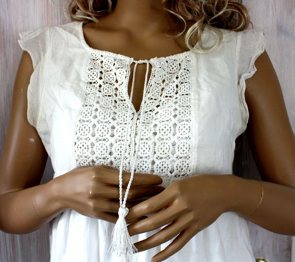 Sommerkleid~Kleid von H&M~ 40~Weiß~Schnürung~M~Empire~Spitze