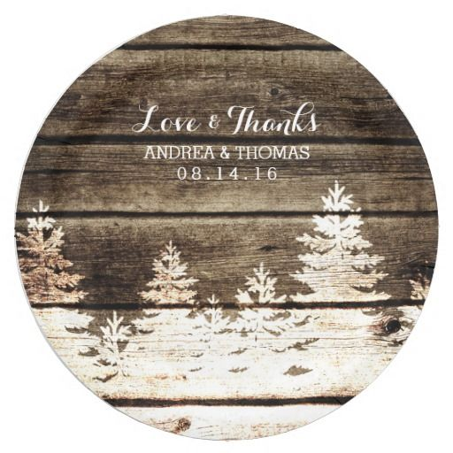 Rustic Barn Wood Pine Trees Winter Wedding Plates 9 Inch Paper Plate