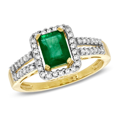 I've tagged a product on Zales: Emerald-Cut Emerald and 1/4 CT. T.W. Diamond Frame Ring in 10K Gold