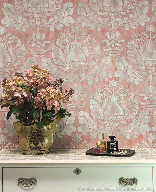 How To Stencil Stenciling A Textured Fabric Wall Finish Stencils Wall Diy Wall Painting Wall Finishes